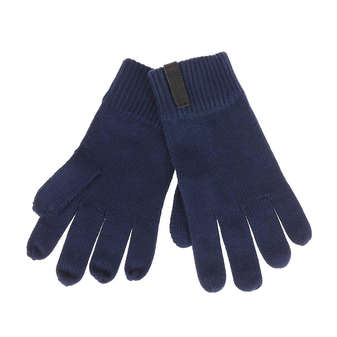 Gants  en coton et cachemire bleu marine