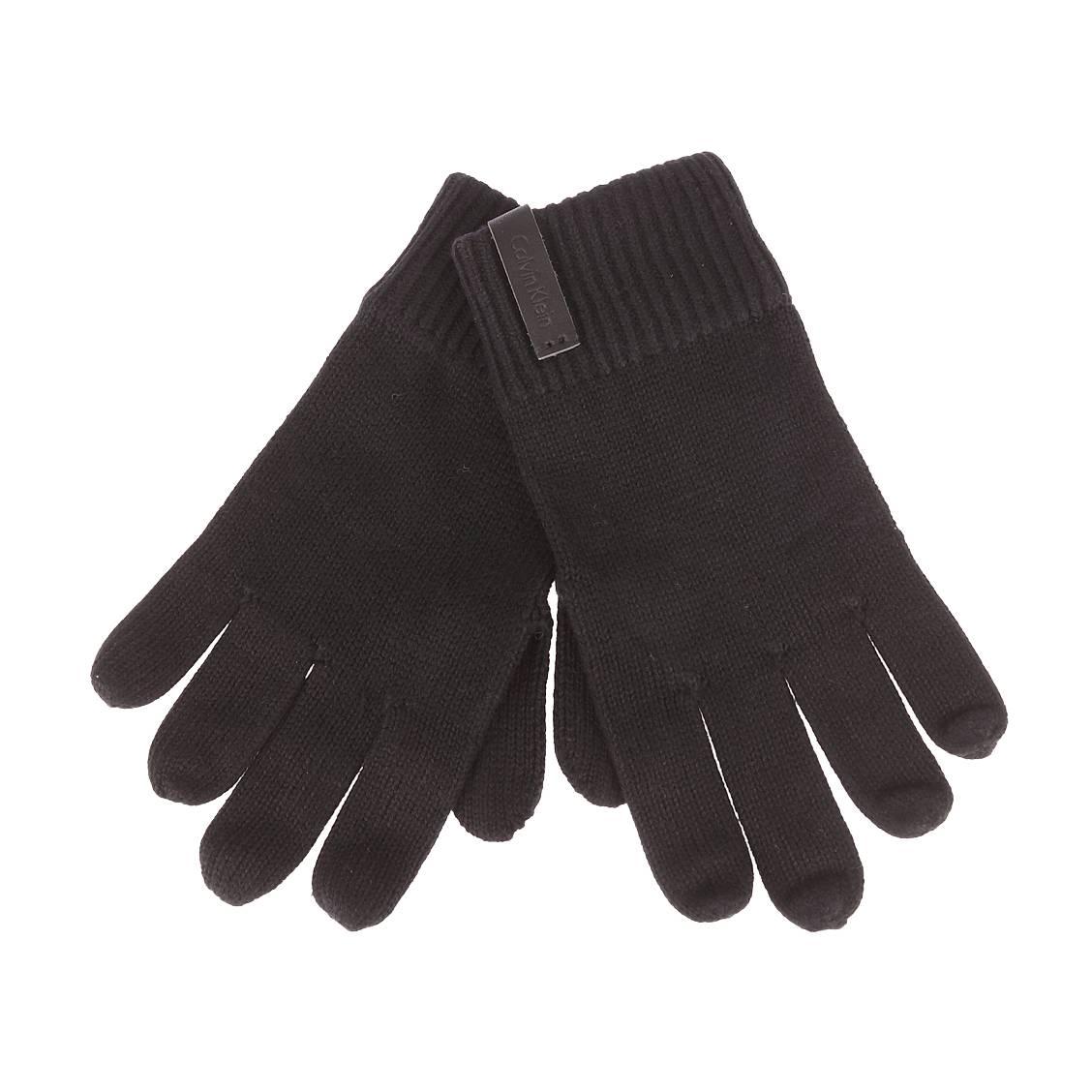 Gants  en coton et cahemire noir