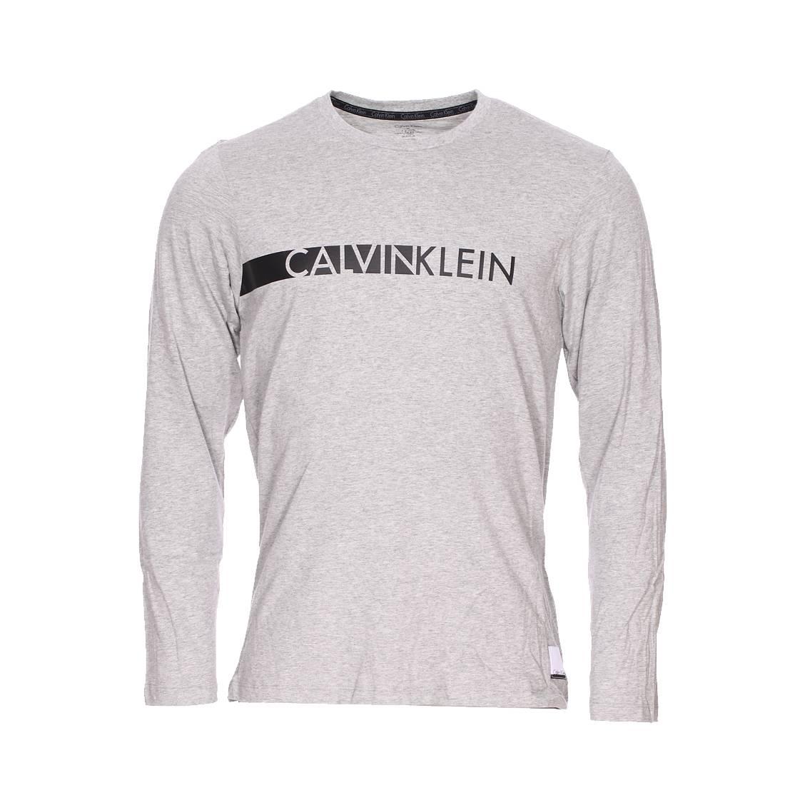 Tee-shirt manches longues calvin klein gris chiné floqué