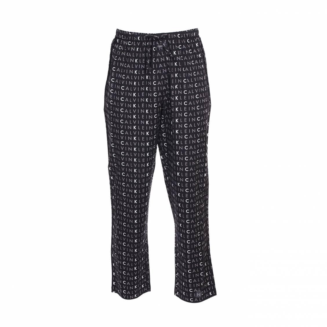 Pantalon de pyjama calvin klein en coton noir monogrammé