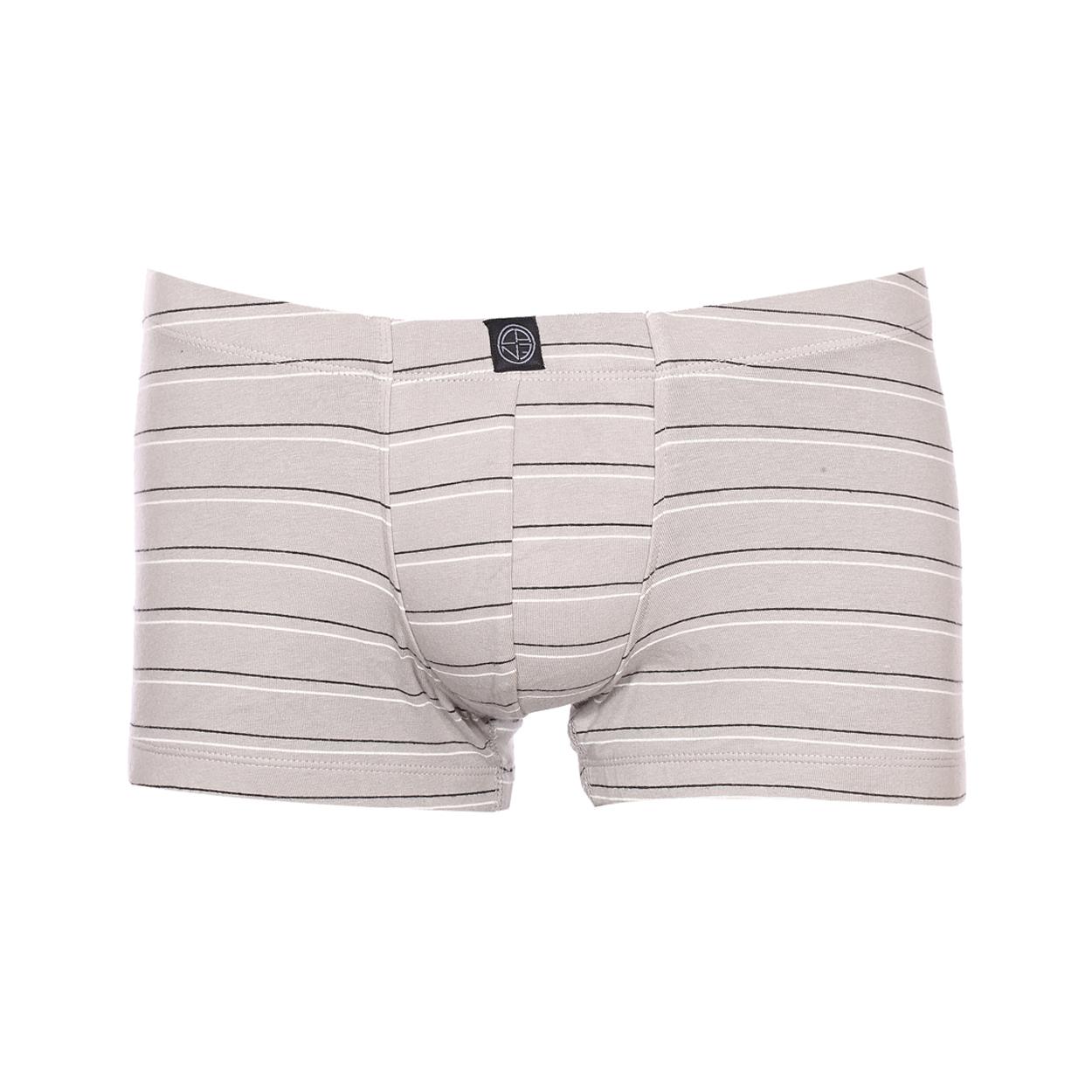 Shorty Bale Christian Cane en coton stretch gris à rayures blanches et noires