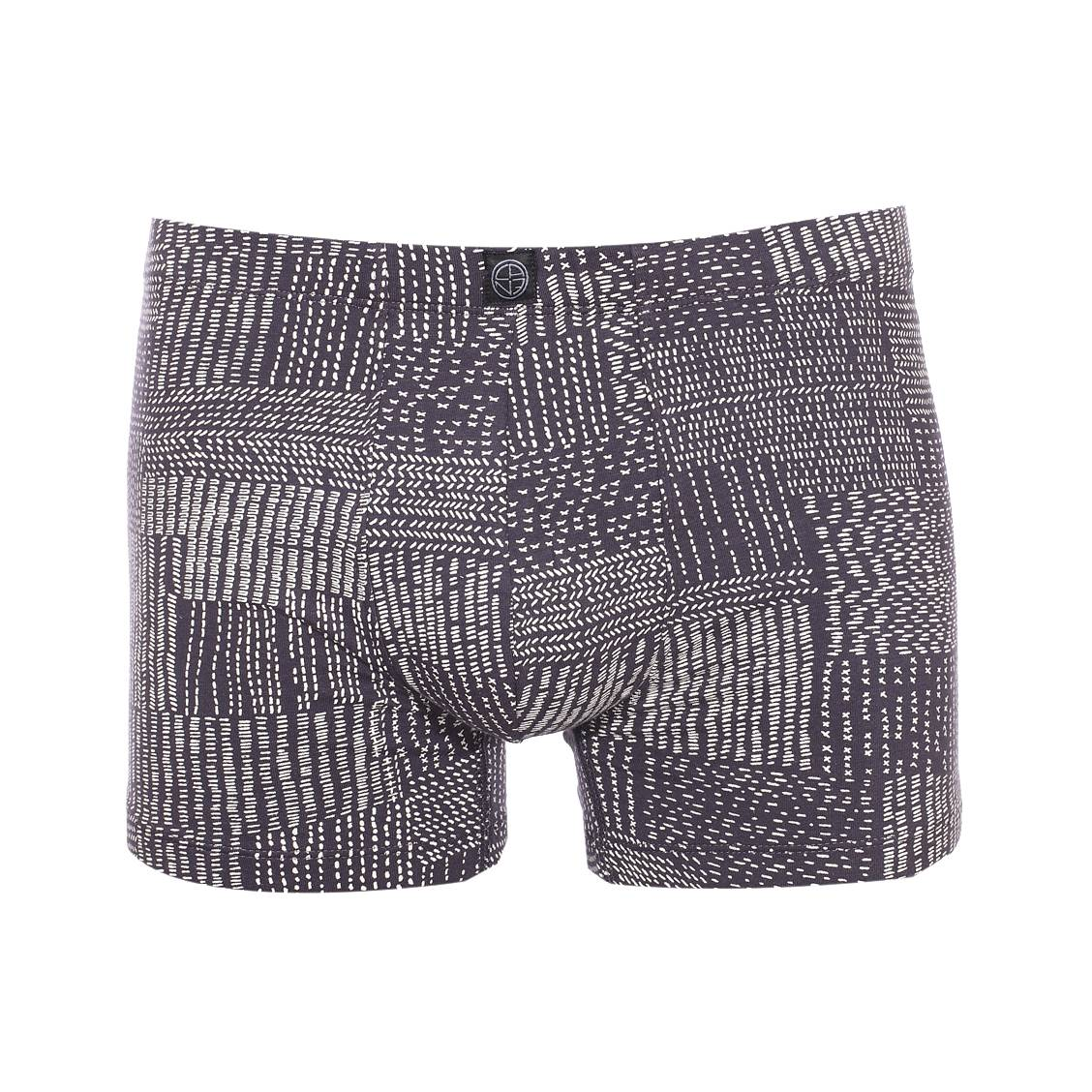 Boxer Brooklyn Christian Cane en coton stretch gris anthracite à motifs blancs