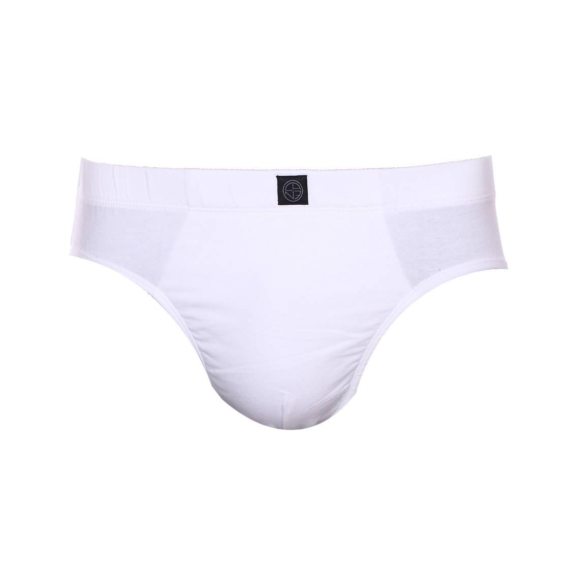 Slip Bastia Christian Cane en coton stretch blanc
