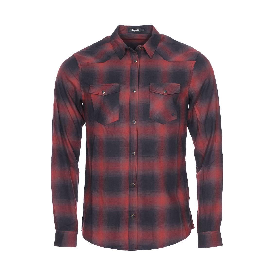 Chemise droite Deepend en coton à carreaux noirs et rouges