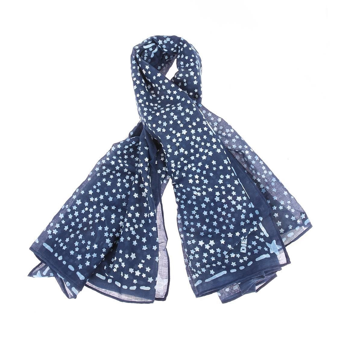 Chèche  scheese bleu marine à imprimés étoiles
