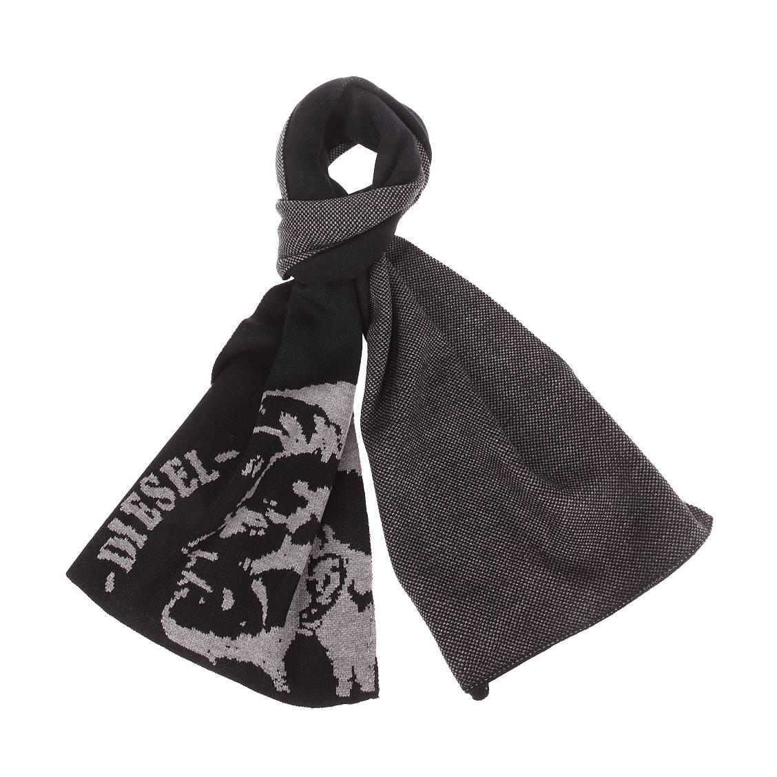 Echarpe  k-duboo noire brodée du logo en gris