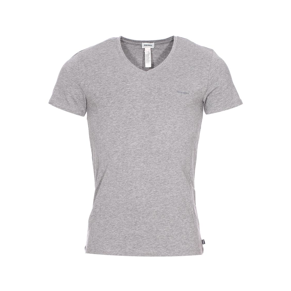 Tee-shirt col v diesel en coton stretch gris