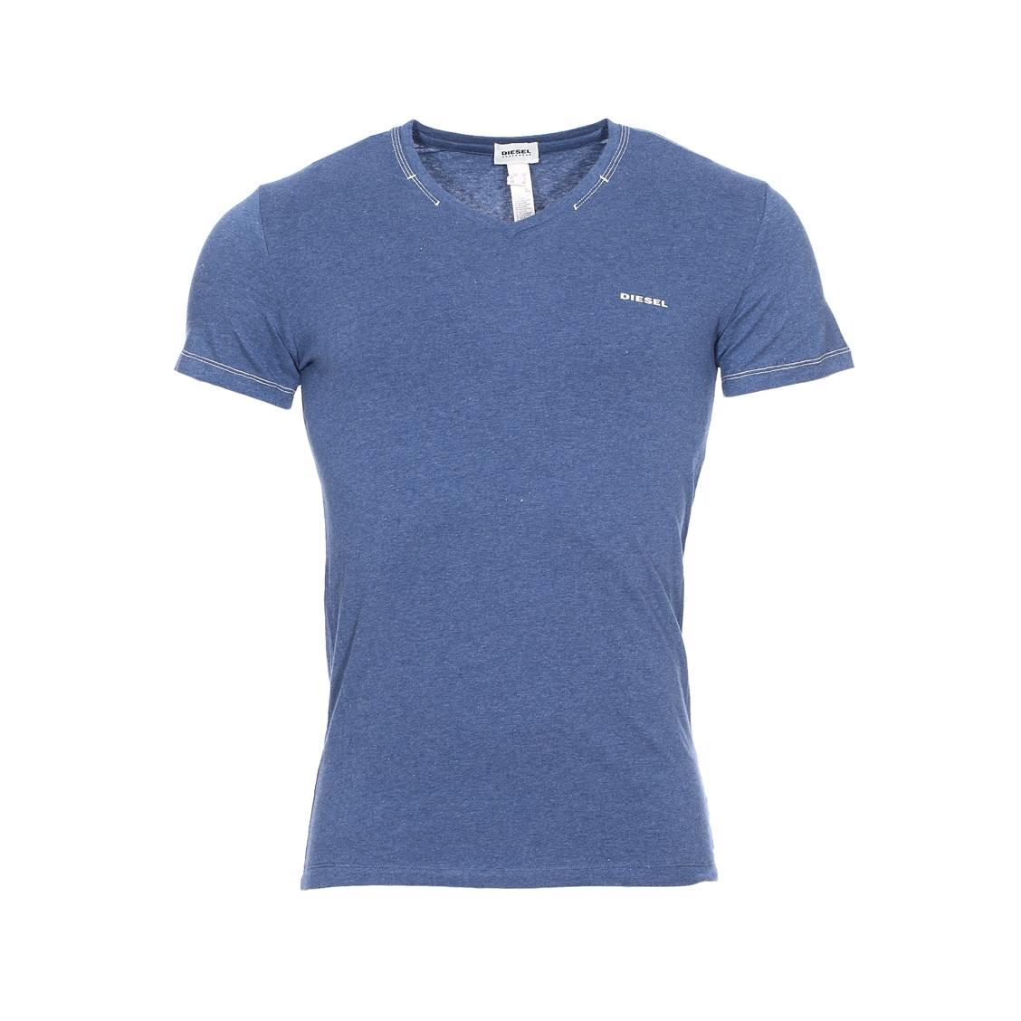 Tee-shirt col v  en coton stretch bleu jean