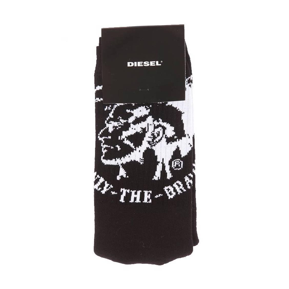 Chaussettes diesel en coton stretch noir à imprimé blanc punk