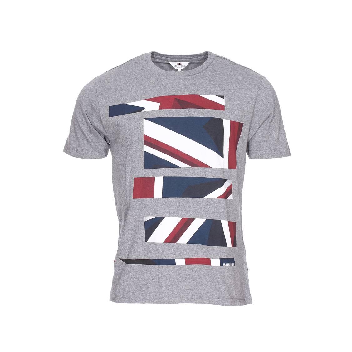Tee-shirt col rond  gris chiné floqué