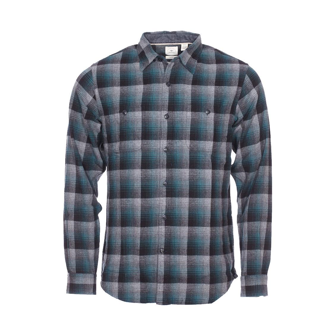 Chemise droite  en flanelle à carreaux gris, noirs et verts