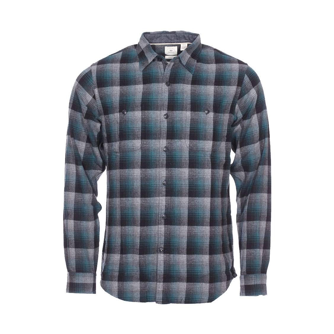 chemise droite dockers en flanelle carreaux gris noirs. Black Bedroom Furniture Sets. Home Design Ideas
