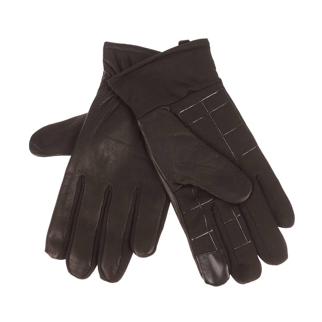 Gants <strong>dockers</strong> en cuir noir spécial écran tactile