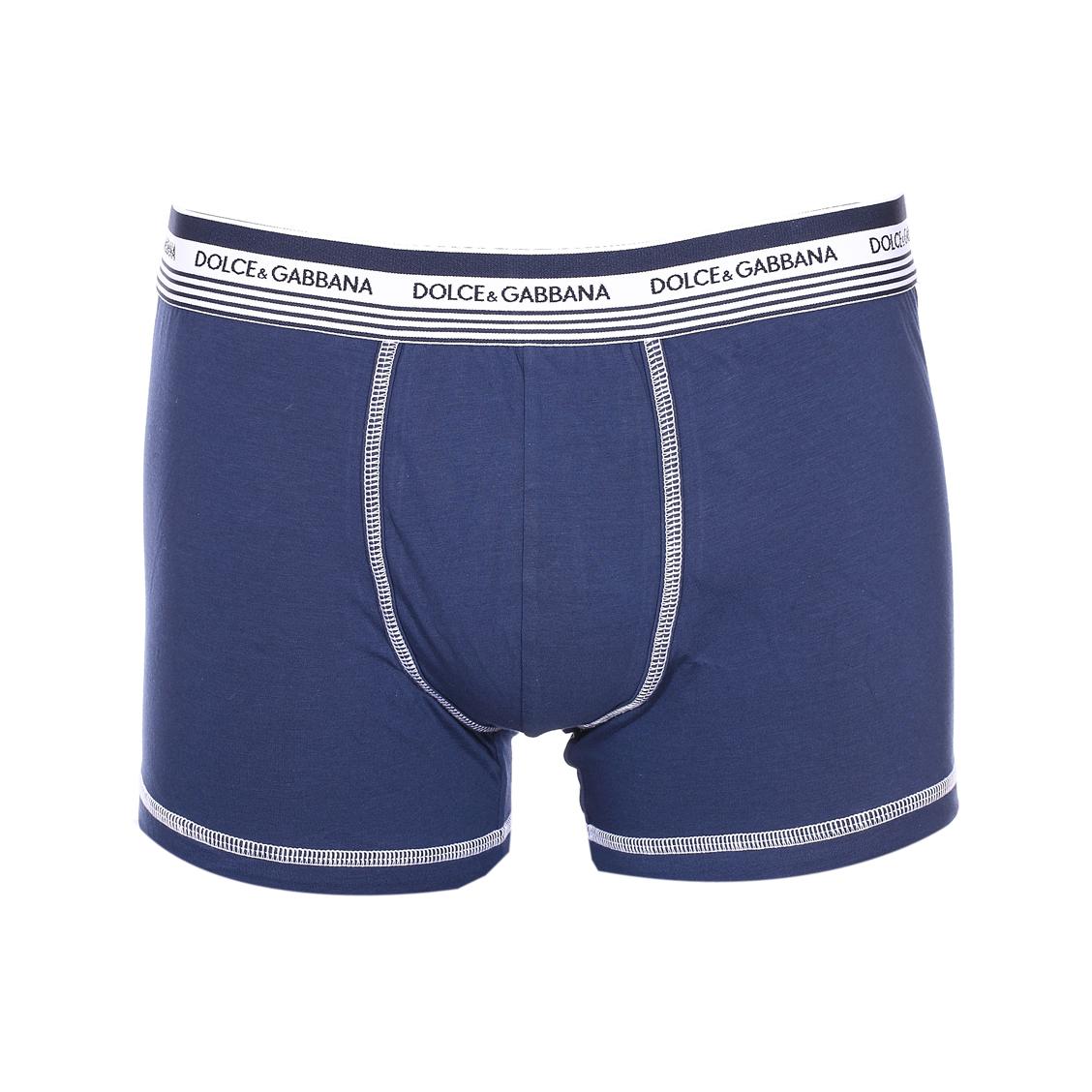 Boxer  en coton stretch bleu marine, ceinture blanche à rayures bleu marine