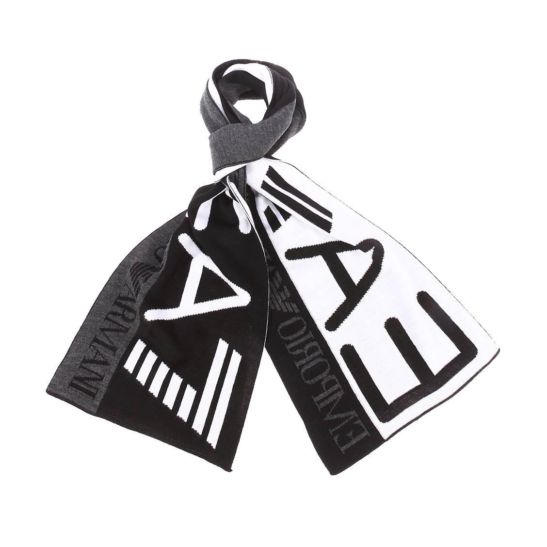 Echarpe EA7 noire et blanche monogrammée