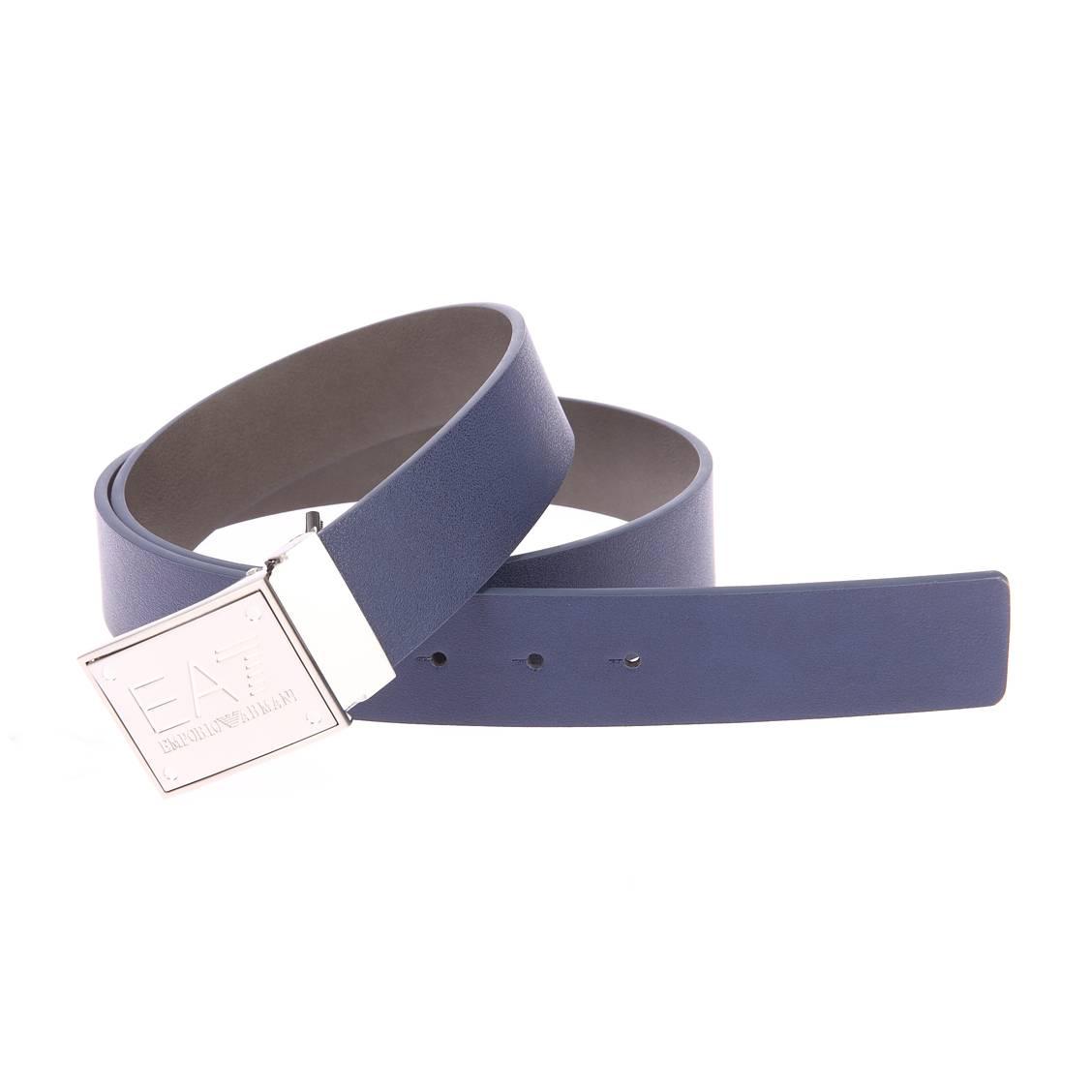 Ceinture ajustable EA7 simili-cuir bleu réversible en gris, à boucle pleine métallique gravée