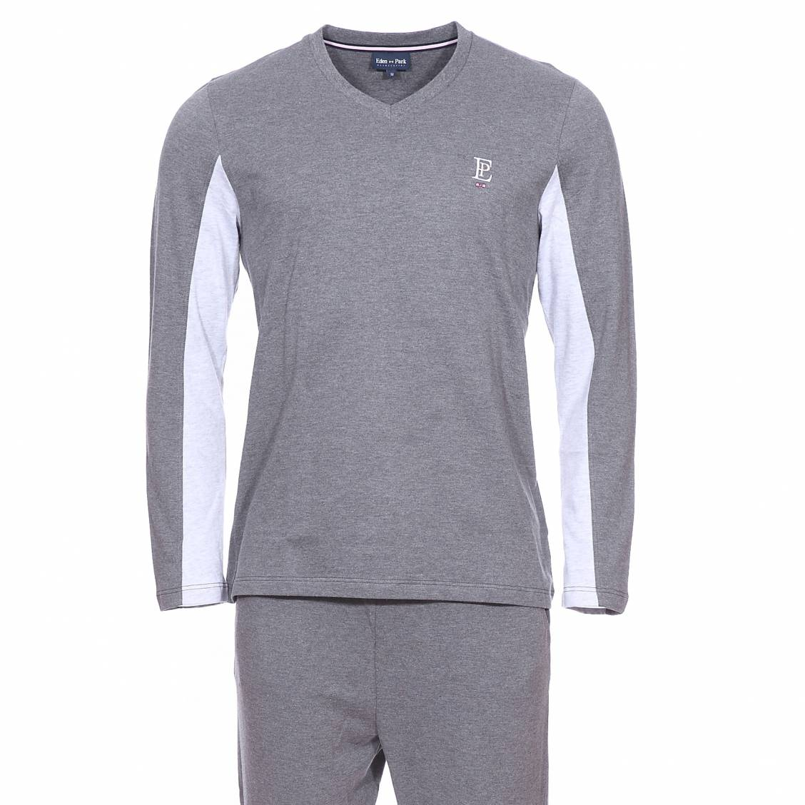 Pyjama long  en coton : tee-shirt manches longues col v gris foncé, manches à bandes bleu ciel, pantalon gris foncé