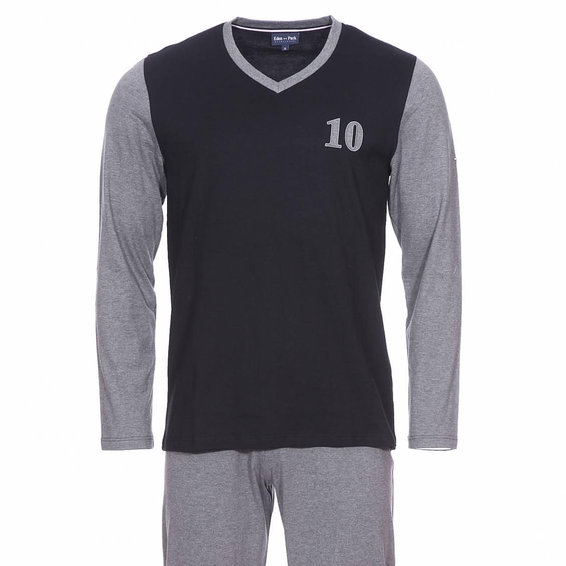 Pyjama long  en coton : tee-shirt manches longues col v noir et gris et pantalon gris