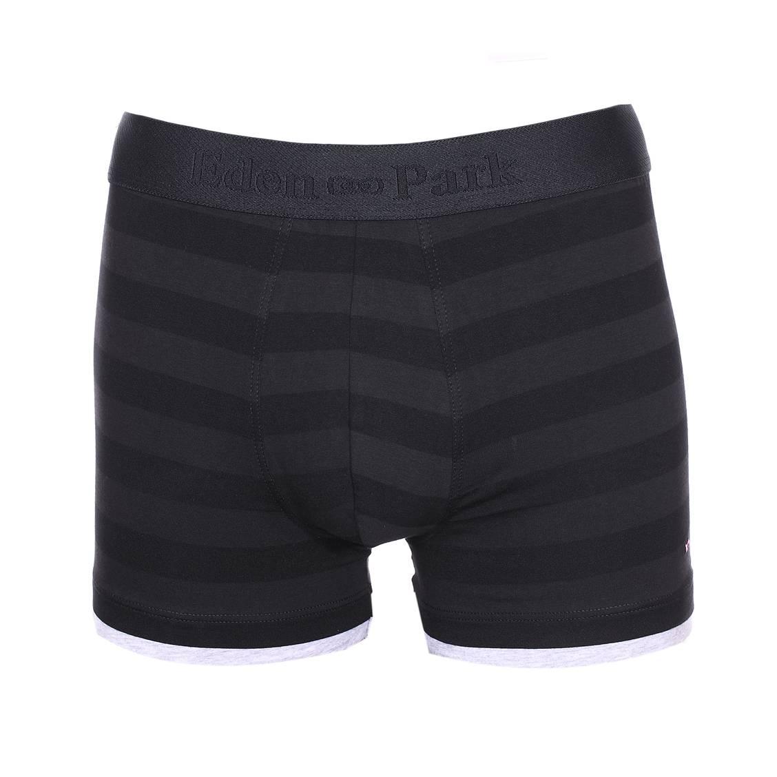 Boxer long  en coton et modal à rayures noires et gris foncé
