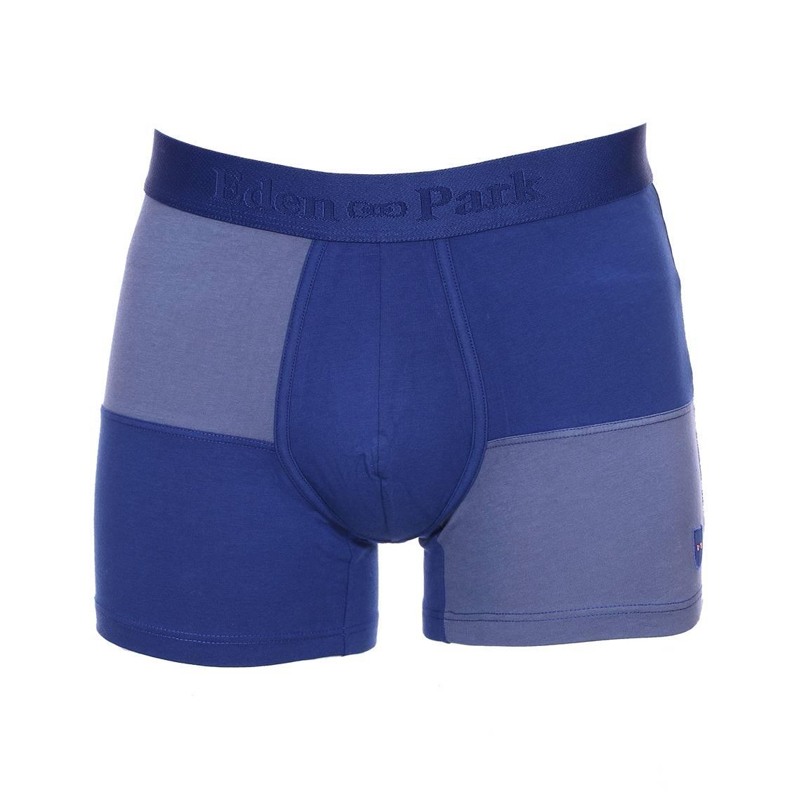 Boxer long  en coton stretch quadrillé en bleu roi et bleu et uni à l\'arrière