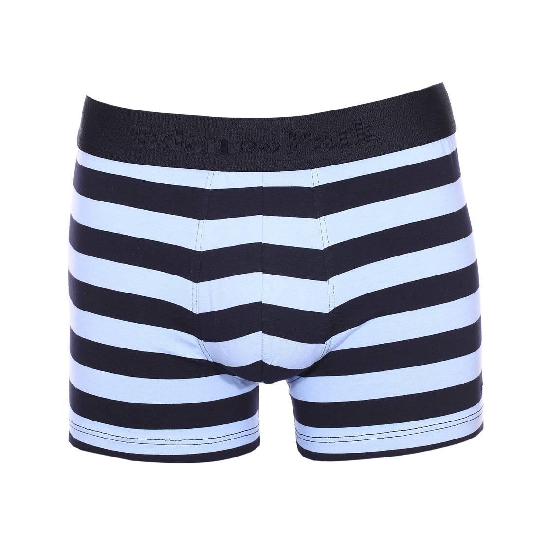 Boxer long  en coton stretch bleu marine à larges rayures bleu clair