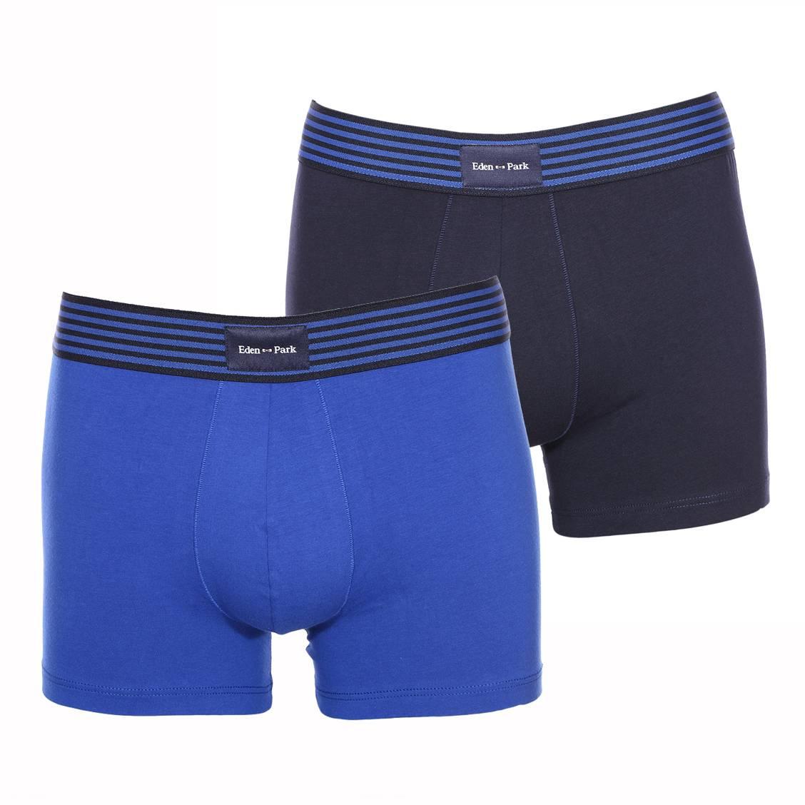 Lot de 2 boxers longs  en coton stretch bleu marine et bleu indigo à ceinture rayée