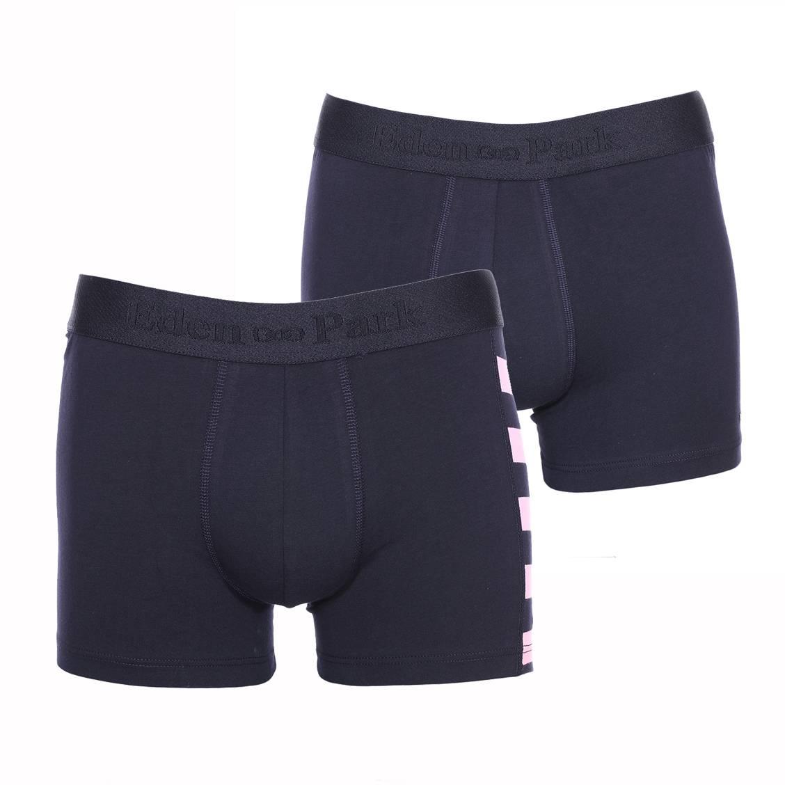 Lot de 2 boxers longs  en coton stretch bleu marine et bleu marine à rayures roses
