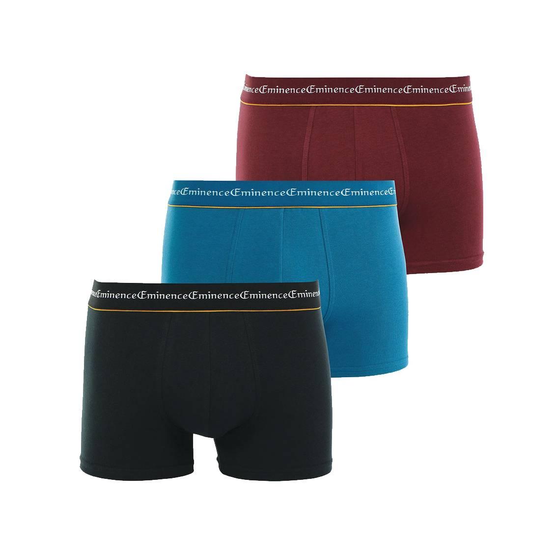 Lot de 3 boxers Eminence Business en coton stretch noir, bleu et bordeaux