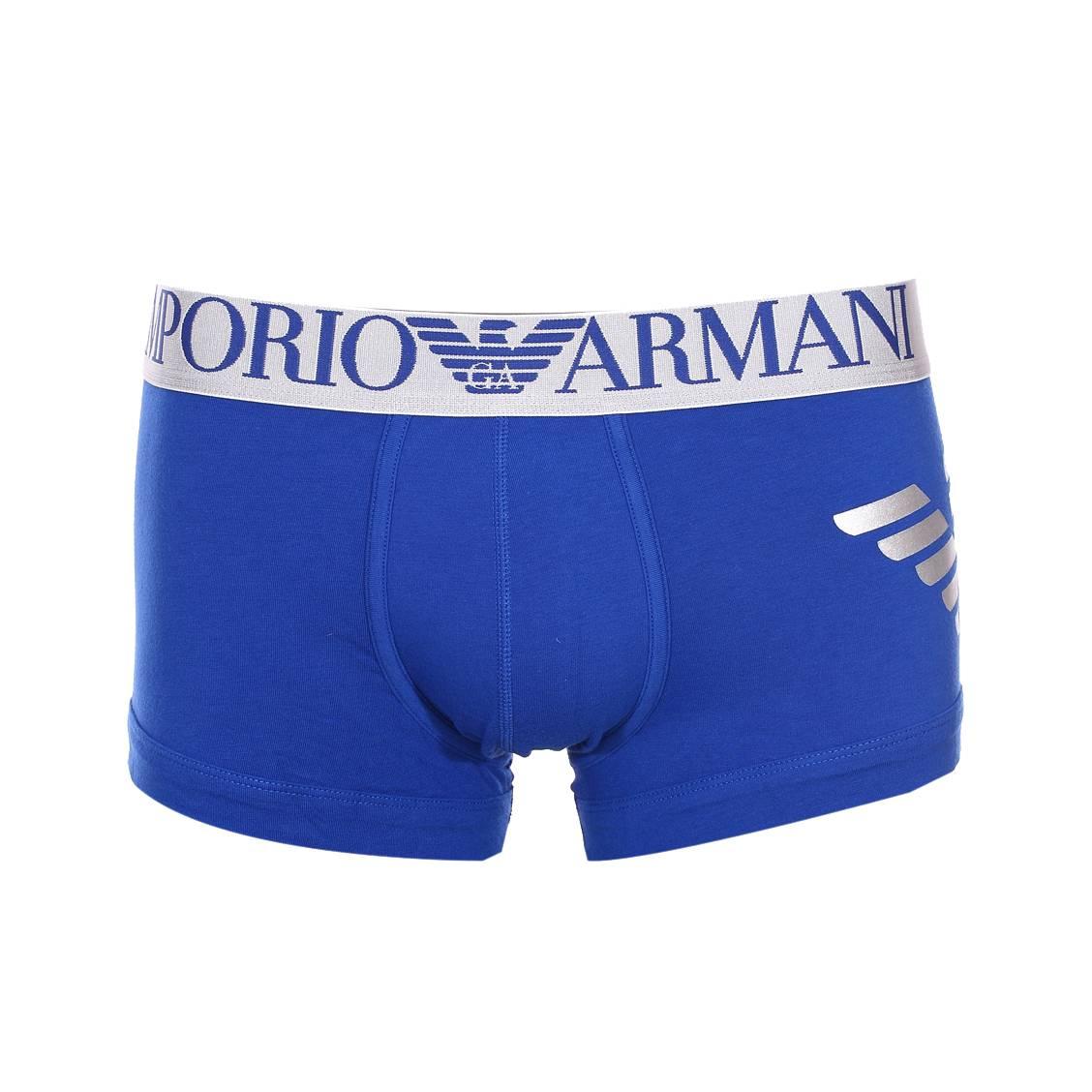 Boxer  en coton stretch bleu électrique, logo floqué en argenté sur le côté