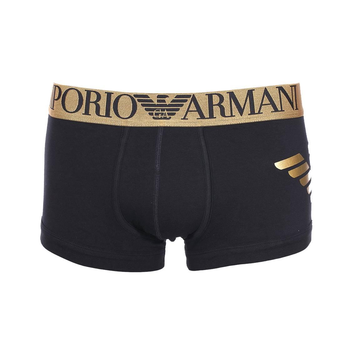 Boxer  en coton stretch noir, logo floqué en doré sur le côté