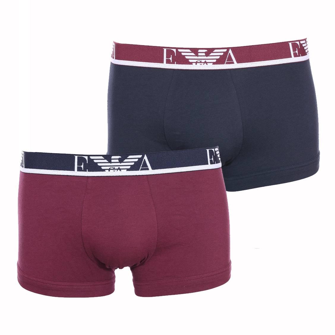 Lot de 2 boxers  en coton stretch bordeaux et bleu marine