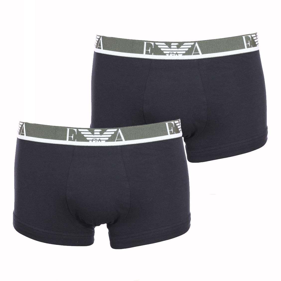 Lot de 2 boxers  en coton stretch noir, ceinture kaki brodée en blanc