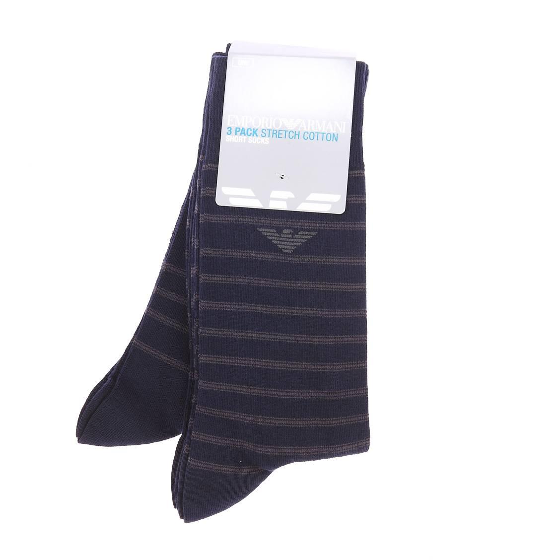Lot de 3 paires de chaussettes en coton et polyamide stretch bleu marine à rayures grises