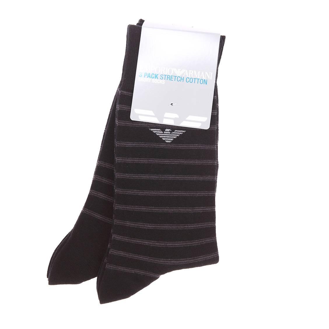 Lot de 3 paires de chaussettes noires à rayures grises en coton et polyamide stretch