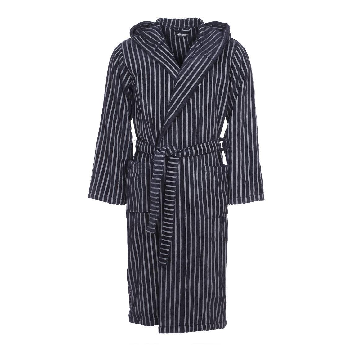 peignoir de bain capuche emporio armani en coton ponge rayures grises et bleu marine rue. Black Bedroom Furniture Sets. Home Design Ideas