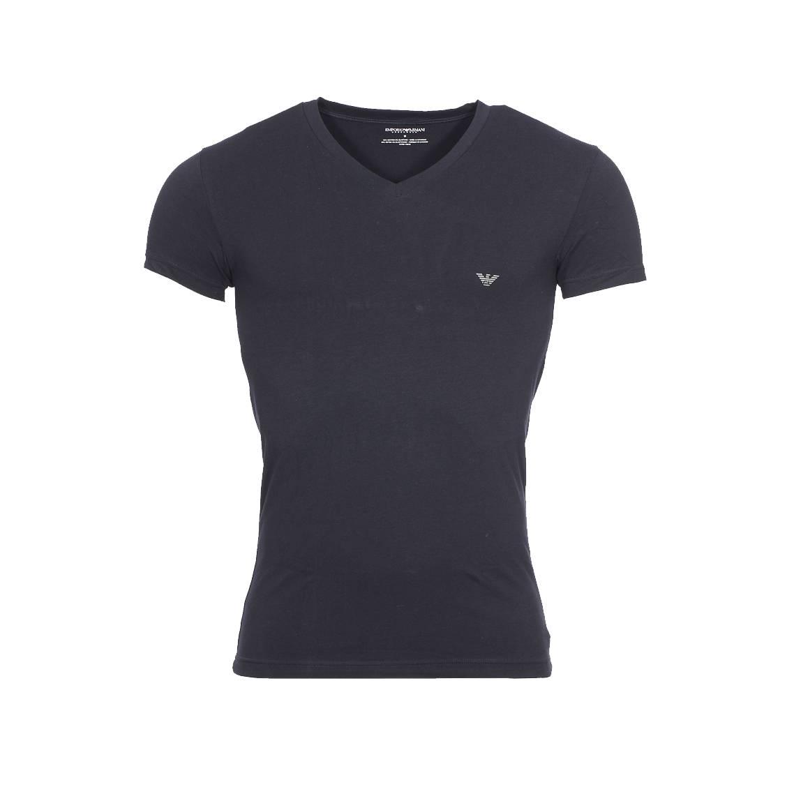 Tee-shirt col v  en coton stretch noir floqué sur l\'épaule