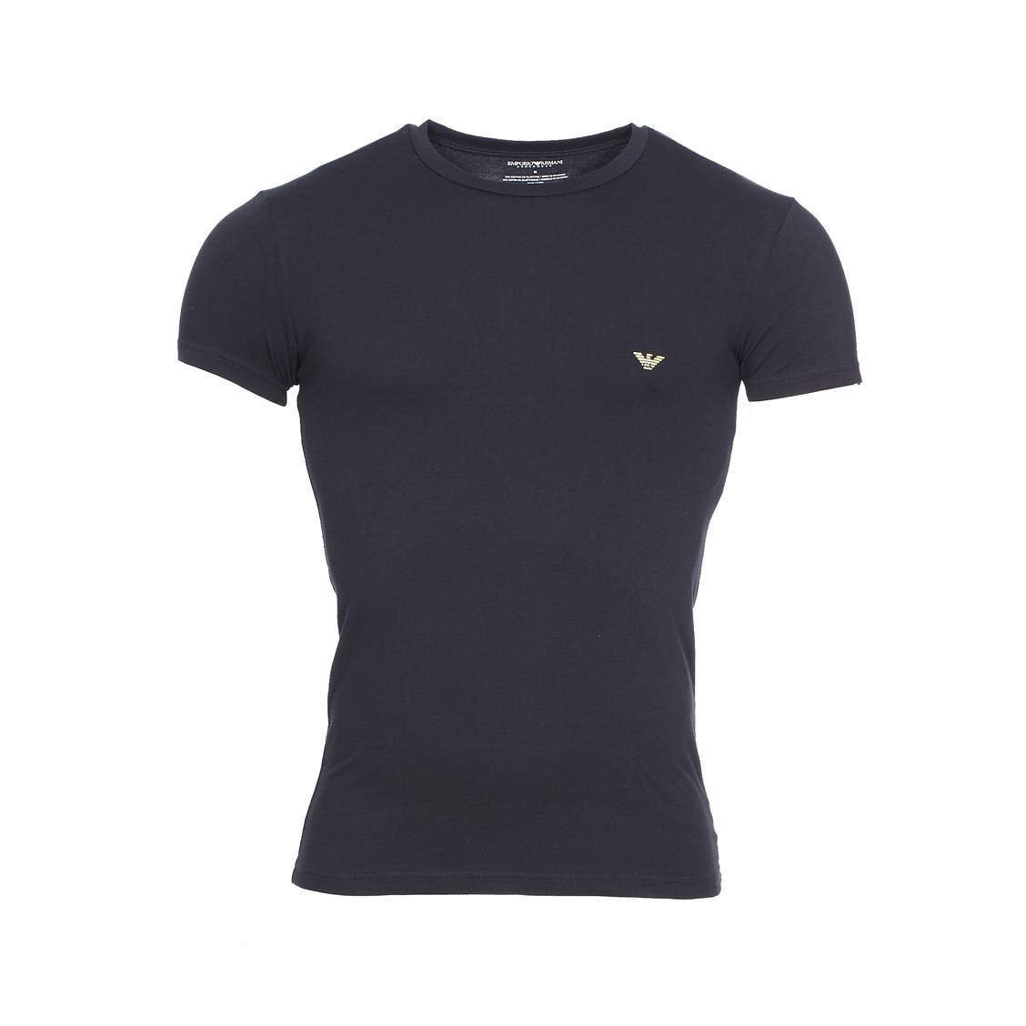 Tee-shirt col rond  en coton stretch noir floqué du logo en doré dans le dos