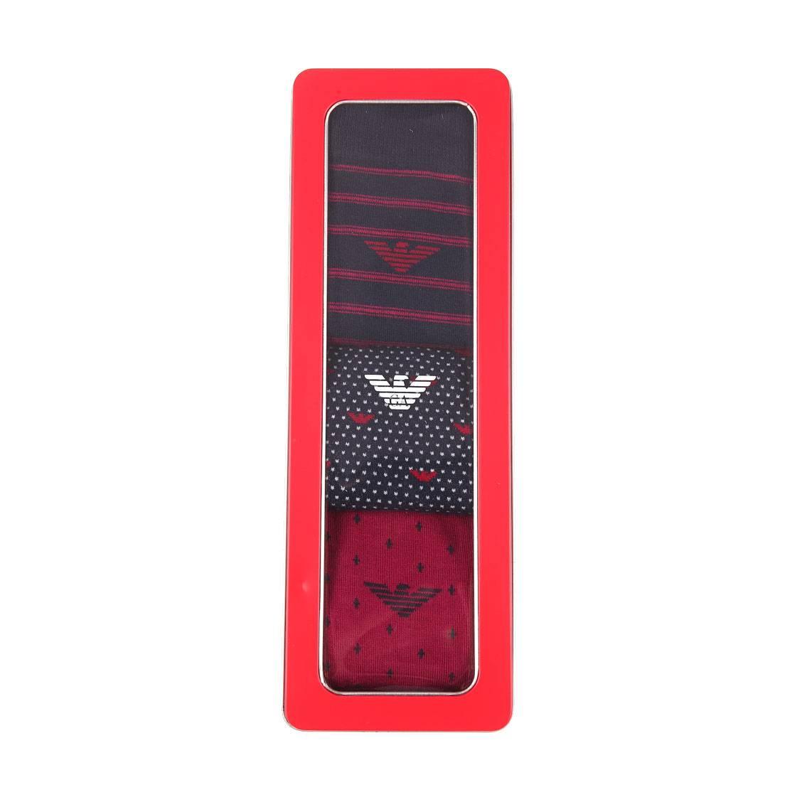 Coffret de 3 paires de chaussettes  en coton et polyamide stretch rose à pois bleu marine, bleu marine à rayures roses et bleu marine à pois blancs et motifs eagle roses