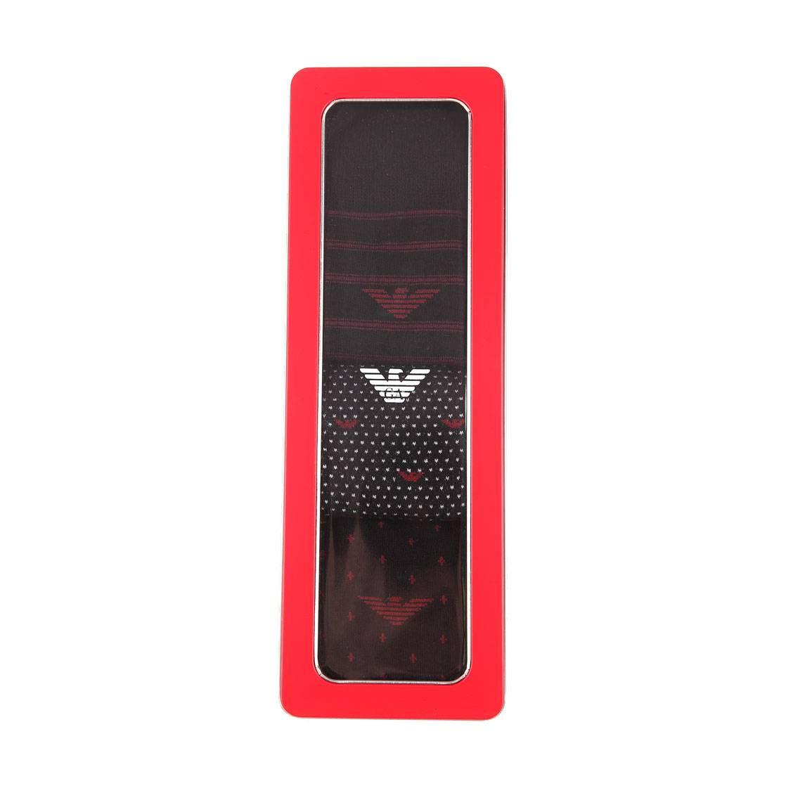 Lot de 3 paires de chaussettes  en coton et polyamide stretch noir à pois rouges, noir à rayures rouges et noir à motifs eagle