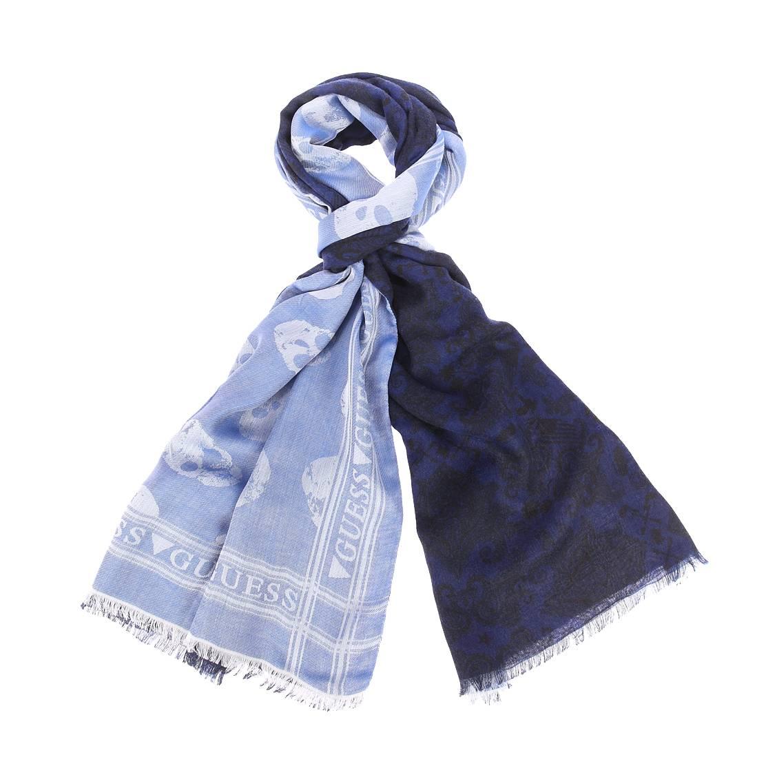 Chèche  en modal et viscose bleu marine à motifs noirs réversible bleu clair à imprimé tête de mort