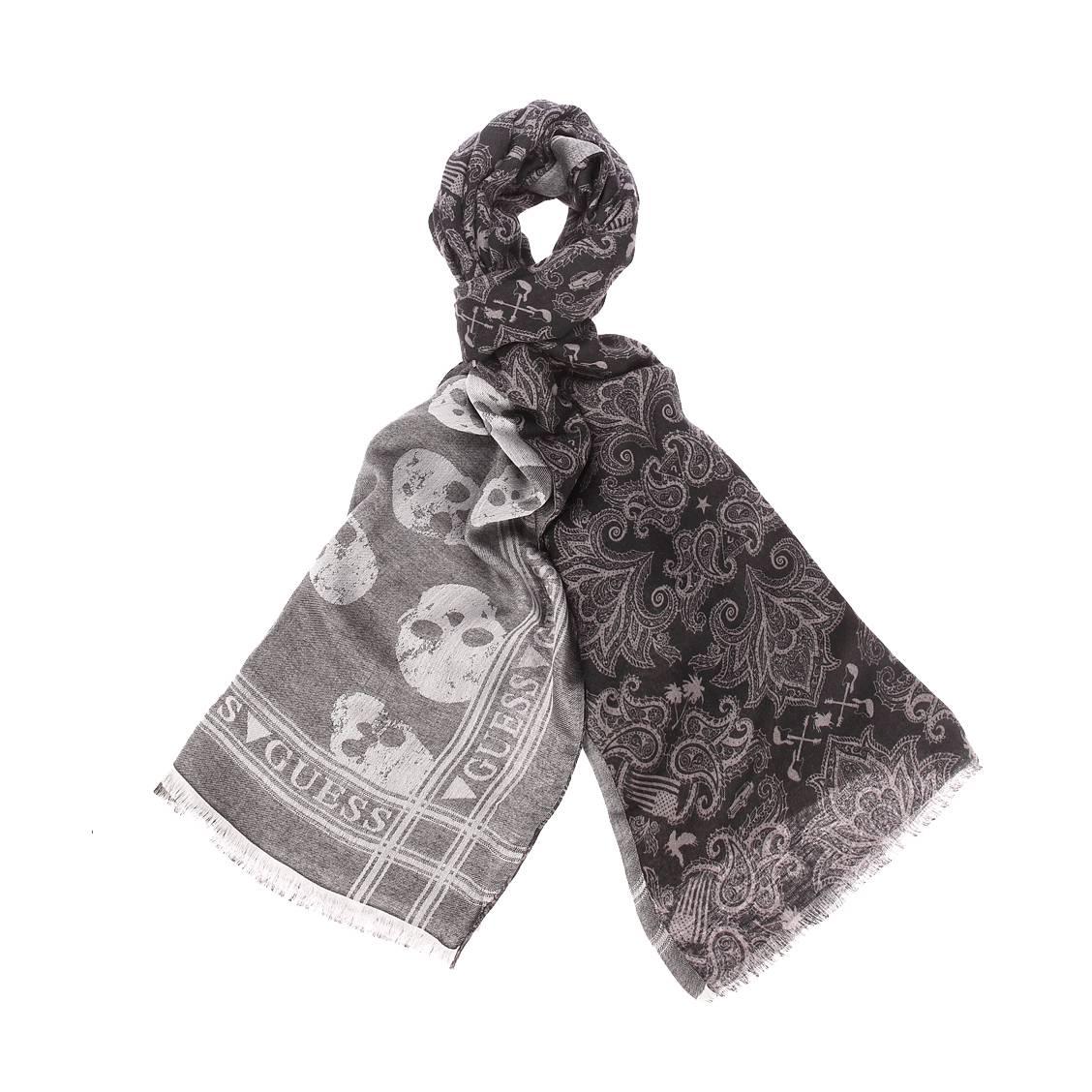 Chèche  en modal et viscose noir à motifs gris réversible noir chiné à imprimé tête de mort