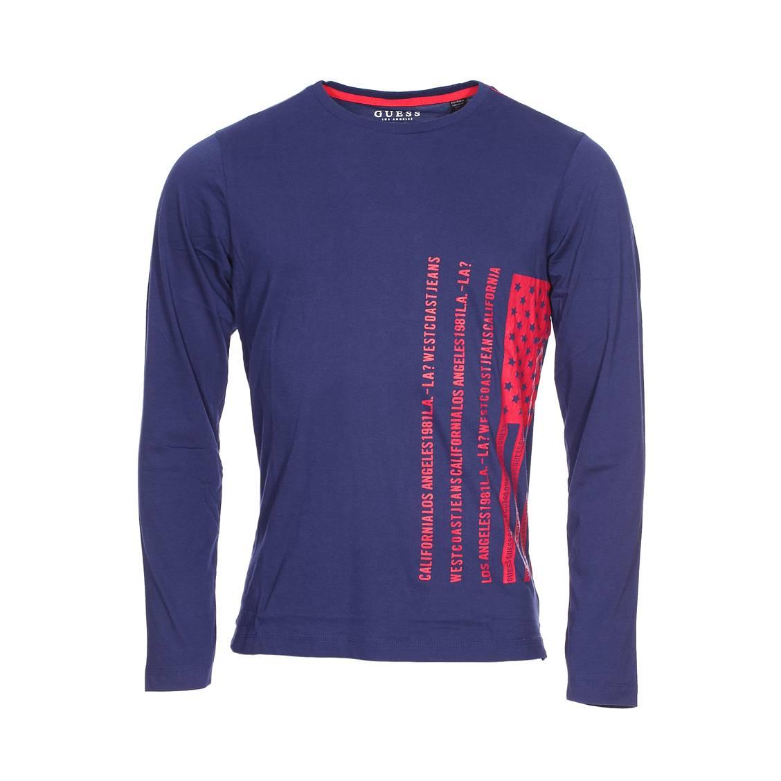 Tee-shirt manches longues col rond guess en coton bleu marine à imprimé drapeau américain