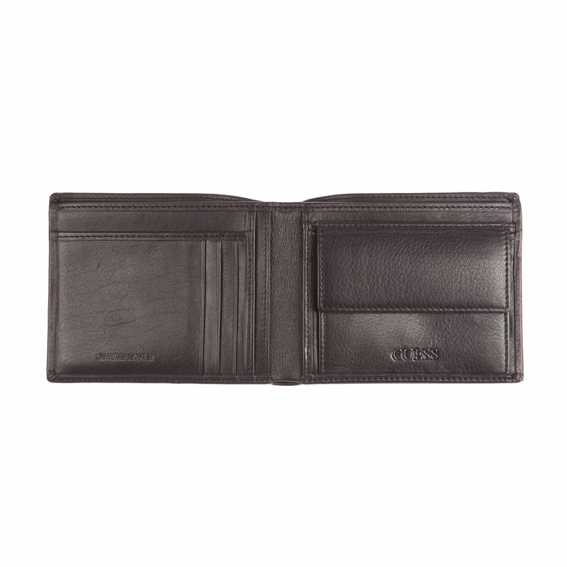Portefeuille italien 2 volets Guess en cuir grainé noir à porte-monnaie Z0Brd