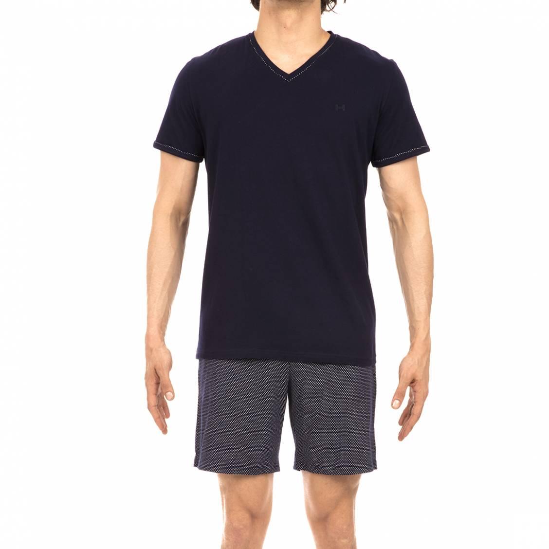 5e43dd180d494 Pyjama court Hom en coton : tee-shirt col V bleu marine et short bleu ...