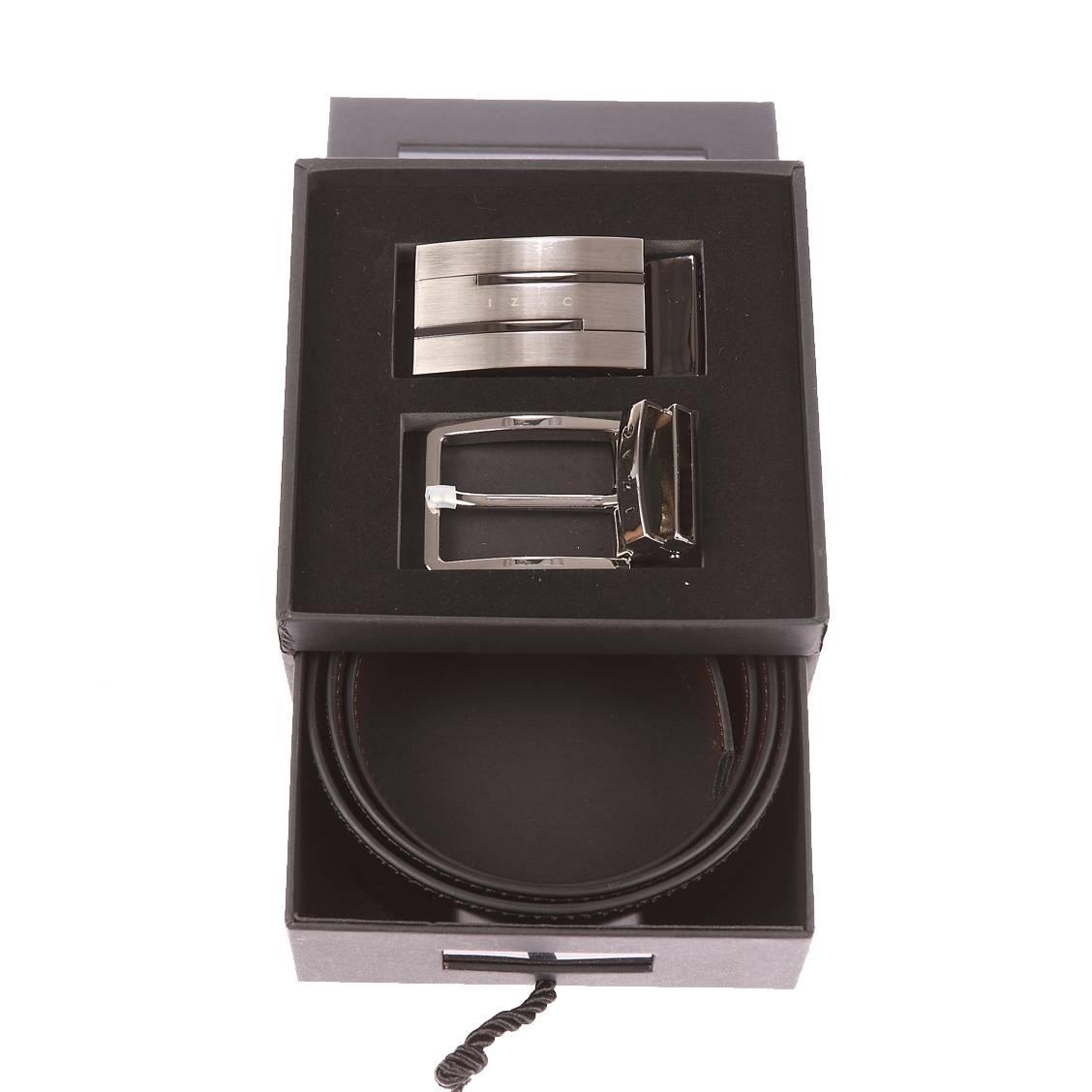 ... Coffret ceinture Izac ceinture ajustable en cuir noir reversible marron  1 boucle classique argentee 1 boucle cea6b552231