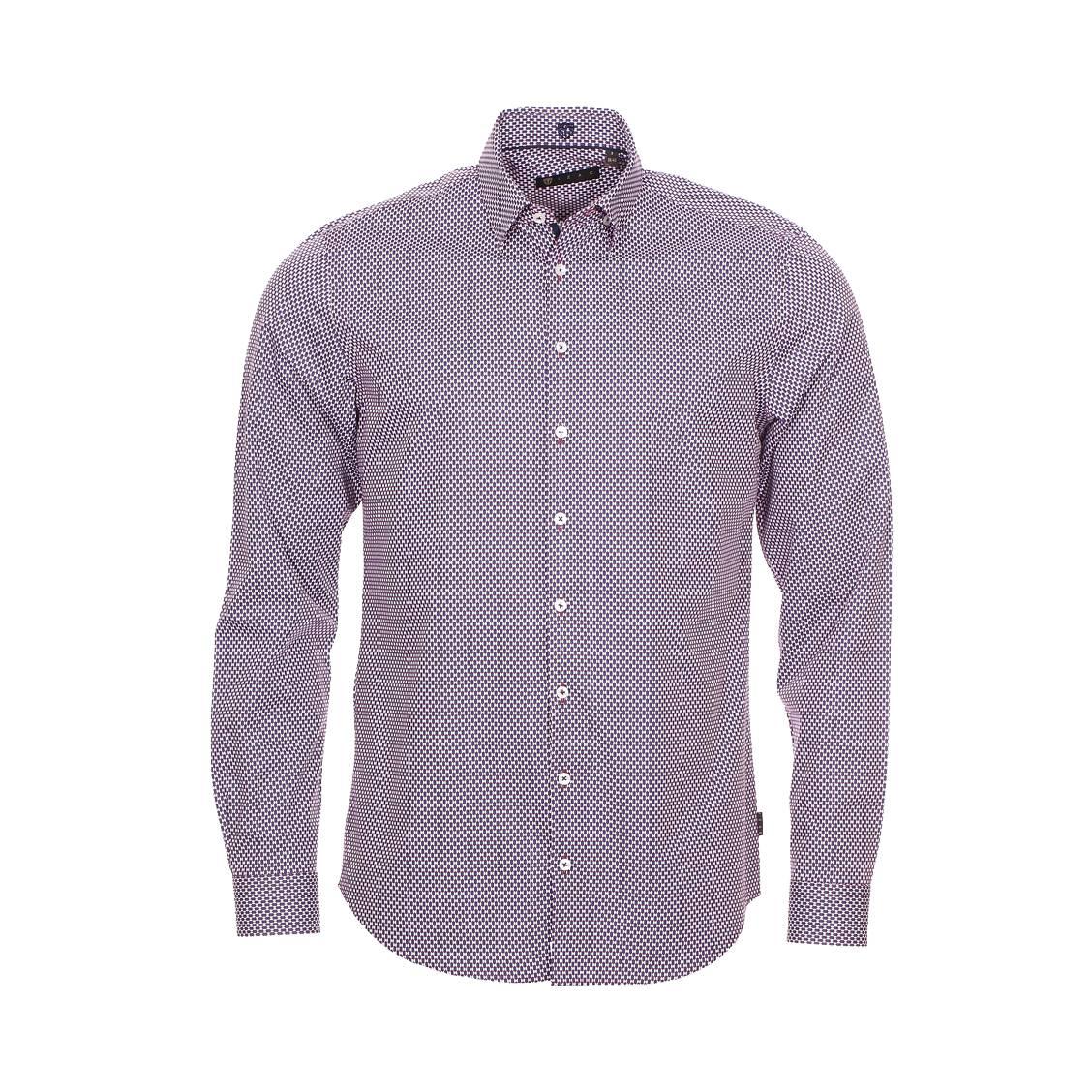 Chemise ajustée Izac en coton bordeaux à motifs bleu marine et blancs