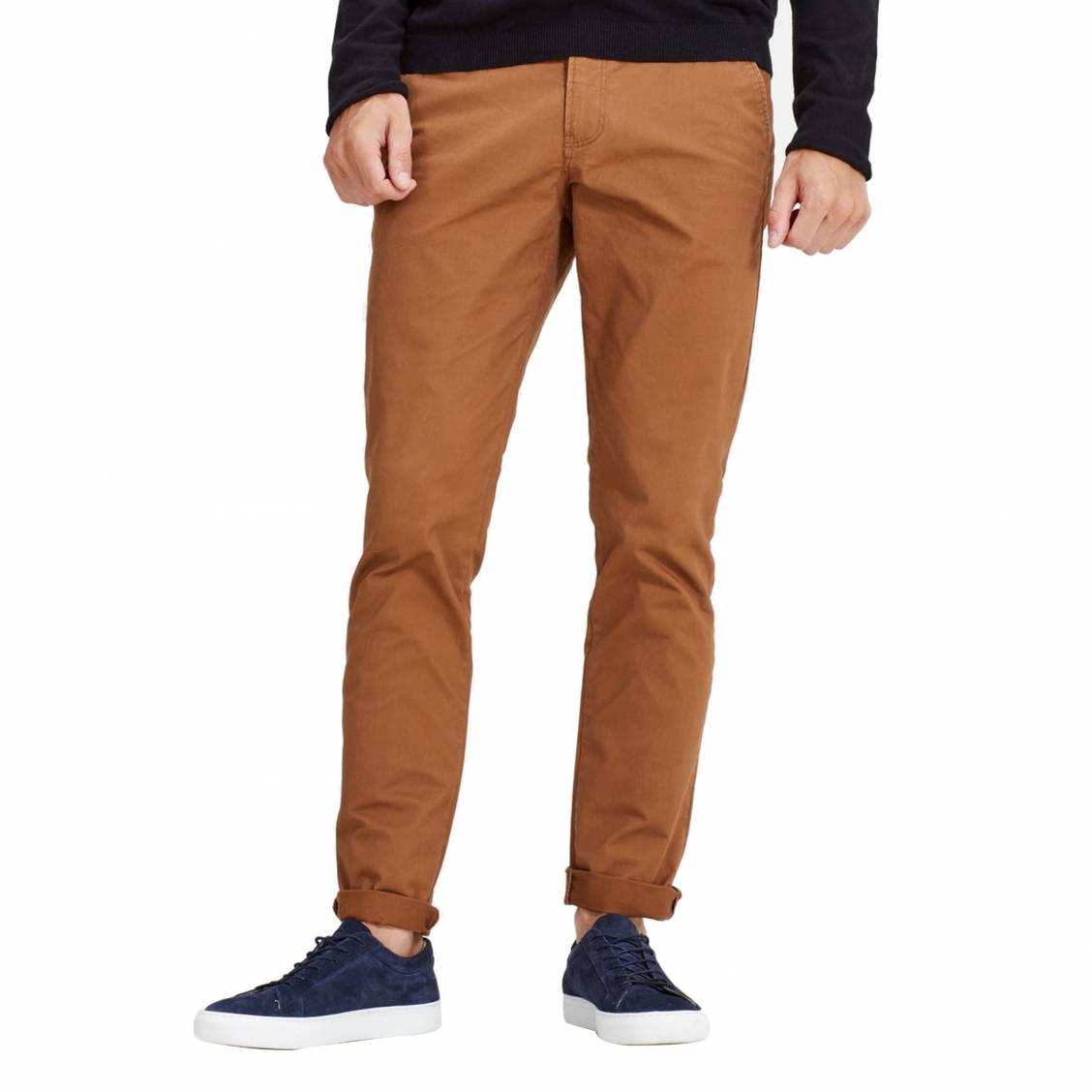 Pantalon Jack   Jones camel avec ceinture marron   Rue Des Hommes 33299dd21a1e