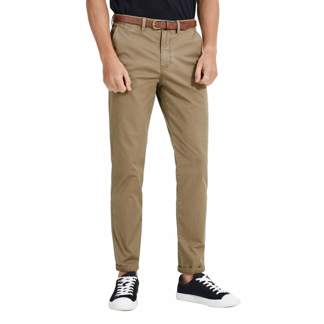 Pantalon Jack   Jones beige foncé avec ceinture marron   Rue Des Hommes 38ff2f9f7127