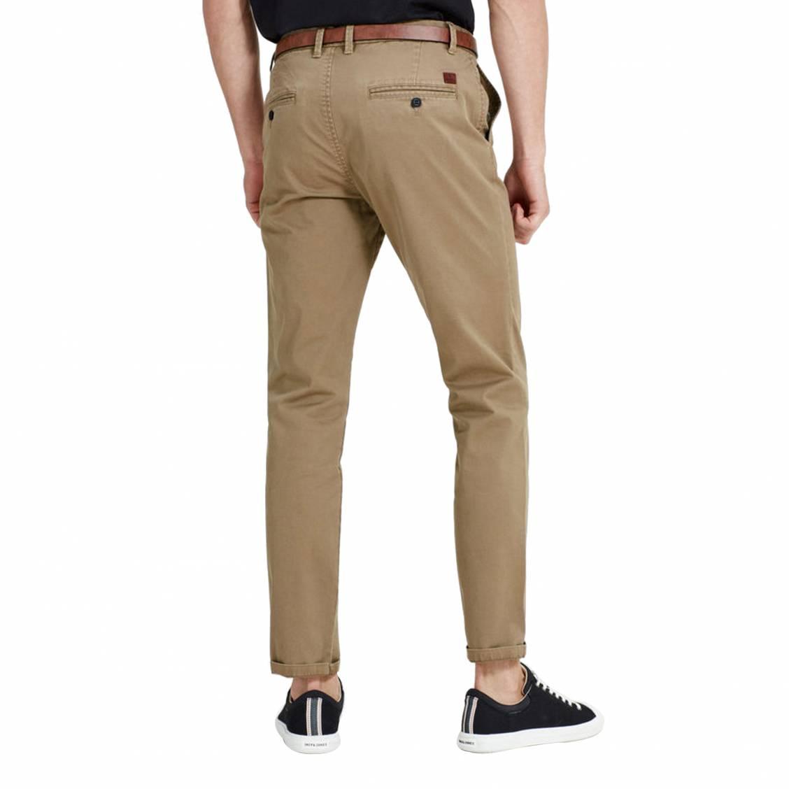1f71082bdc0c Pantalon Jack   Jones beige foncé avec ceinture marron   Rue Des Hommes