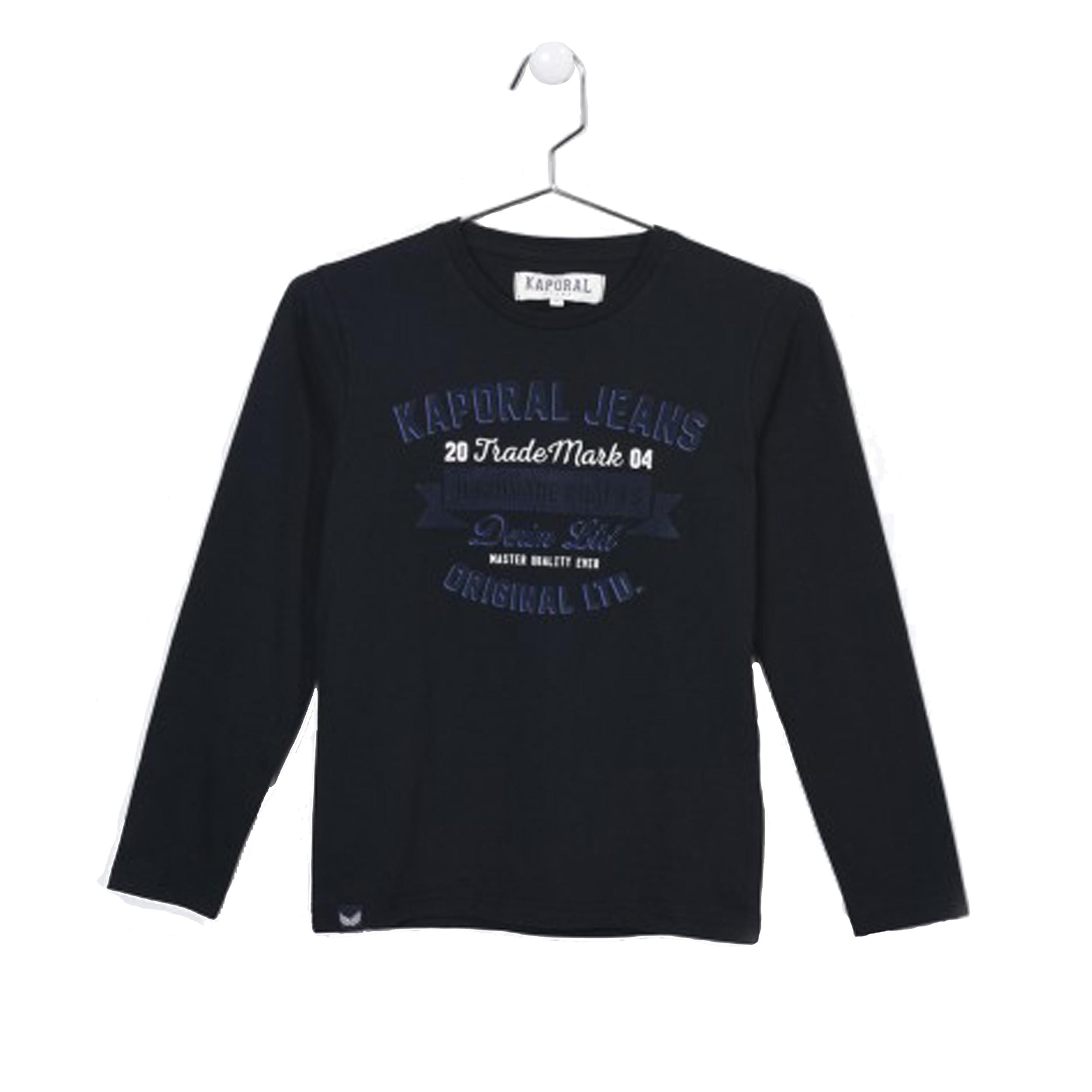Tee-shirt manches longues col rond  negor en coton noir avec flocage effet velours